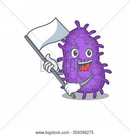 A Nationalistic Bacteria Bacilli Mascot Character Design With Flag