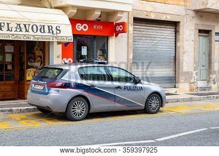 Mdina, Malta - October 28, 2019: The Peugeot 308 Police Car Of The Mdina - Il-rabat Pulizija Parked
