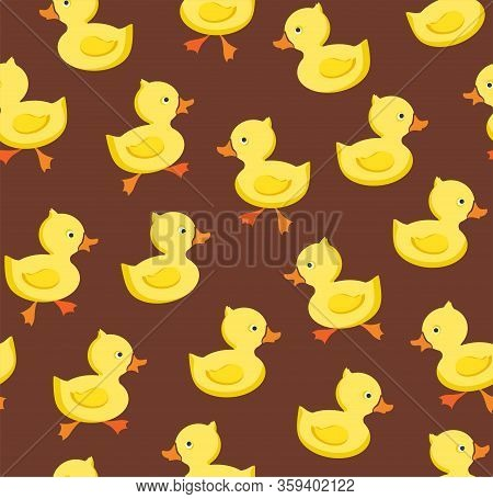 Ducklings, Seamless Pattern, Color, Brown, Vector. Yellow Cheerful Ducklings. Color, Flat Picture. V