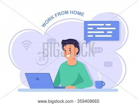 Work from home. Freelance Business man at his desk is working on the laptop computer. A man with a computer works from home. Stay at home, programming, remote work, freelancing. Quarantine to coronovirus. Self-isolation. Work from home. Flat vector concep