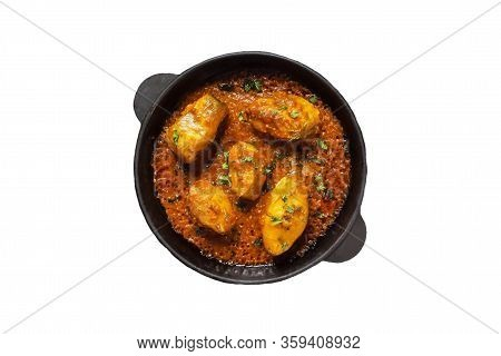 Isolated Of Spicy And Hot Bengali Fish Curry. Indian Food. Fish Curry With Red Chili, Curry Leaf, Co