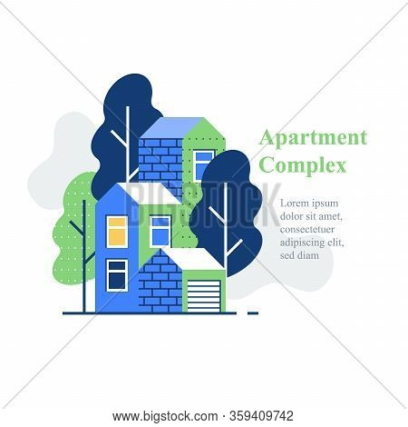 Apartment Complex, Residential Neighborhood, House Building And Development, Green Area, Vector Icon