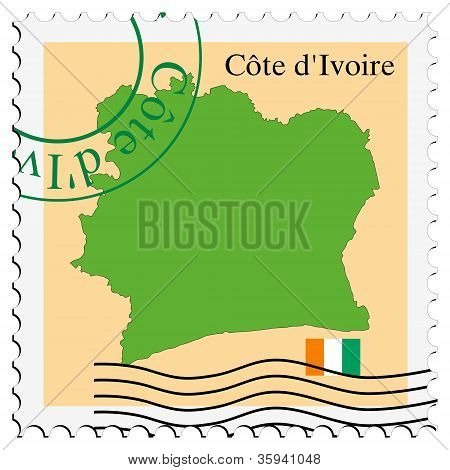 stamp with map and flag of Cote d'Ivoire