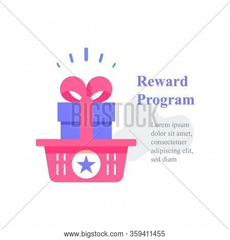 Gift Box In Basket, Reward Program, Loyalty Present, Incentive Concept, Earn Points, Redeem Gift, Sp
