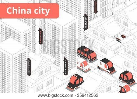 China City Red Black Vehicles Traffic Lights And Line Drawn Buildings White Background Isometric Com