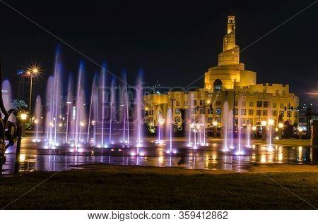 Doha - Qatar April 04, 2020: Al-fanar Qatar Islamic Cultural Center Daylight Exterior Night View, Do