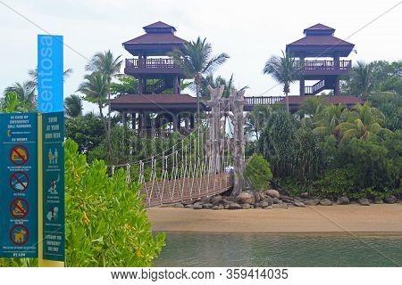Sentosa, Sg - Oct. 19: Palawan Beach Hanging Bridge On October 19, 2016 In Sentosa, Singapore. Palaw
