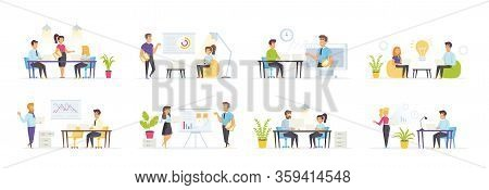 Business Meeting Set With People Characters In Various Situations. Speaker Making Presentation, Busi