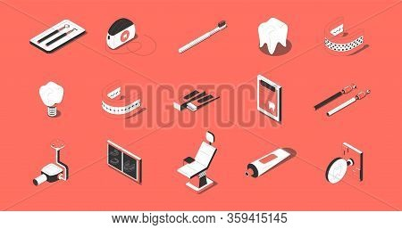 Dentistry Isometric Icons Set With Tooth Implant Prothesis Orthodontic Chair Tools X-ray Red Backgro