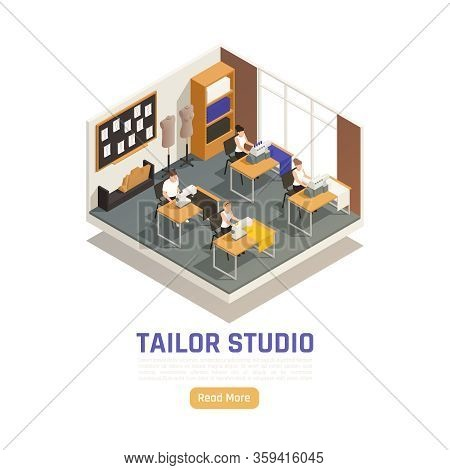 Fashion Atelier Studio Isometric Composition With Seamstress Dressmakers At Sewing And Locking Machi
