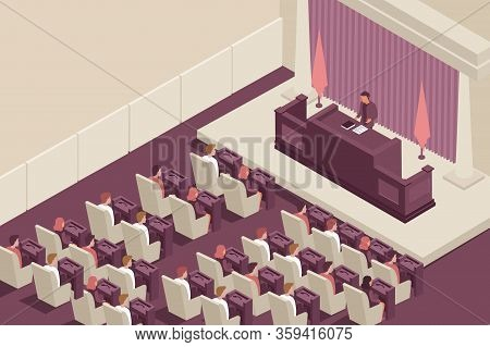 Parliament Government Isometric Composition With Parliament Chamber Indoor Scenery With Elected Offi