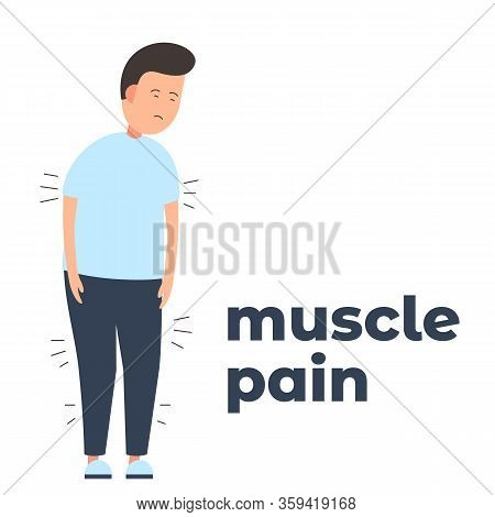 Vector Icon Of A Character Having Muscle Pain Because Of The Infection. It Represents A Concept Of M
