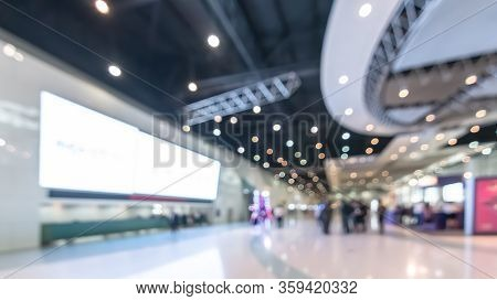 Exhibition Event Convention Hall Business Blur Background Of Tech Expo, Trade Fair, Passenger Termin
