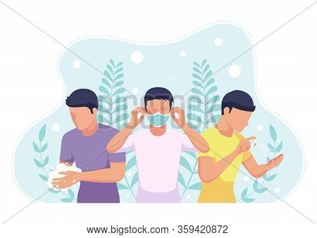 People Wearing A Face Mask - Wash Hands And Sanitizing With Alcohol Spray To Covid-19 Virus Or Coron