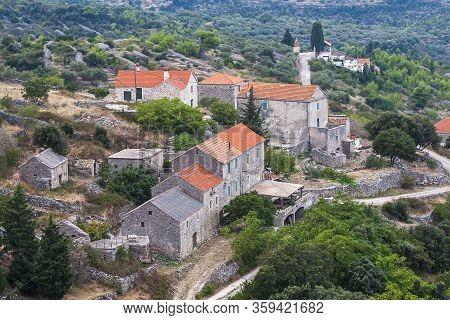 Hvar, Croatia - Circa September 2016: Beautiful View Of Selca On The Island Of Hvar In Croatia Circa