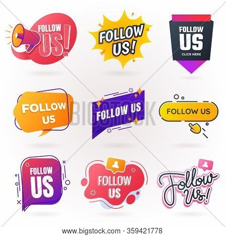 Follow Us Sign Collection. Follow Us Badges For Social Media In Different Styles. Creative Speech Bu