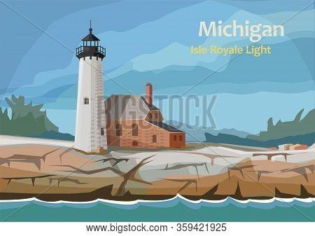 Isle Royale Light, Lighthouse Within Isle Royale National Park, In Keweenaw County, Northern Michiga