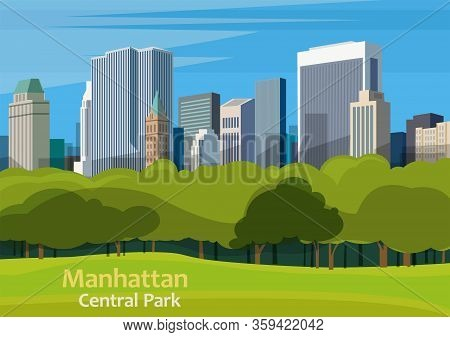 Central Park. Urban Park In Manhattan, New York City, United States, Vector Illustration