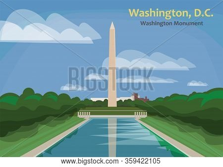 Washington Monument, Obelisk On The National Mall In Washington, D.c., United States, Vector Illustr