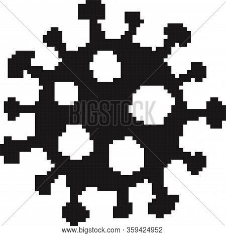 Black Pixel Coronavirus Bacteria Cell Icon, 2019-ncov Novel Coronavirus Bacteria. 8 Bit