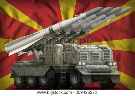 Tactical Short Range Ballistic Missile With Arctic Camouflage On The Macedonia Flag Background. 3d I