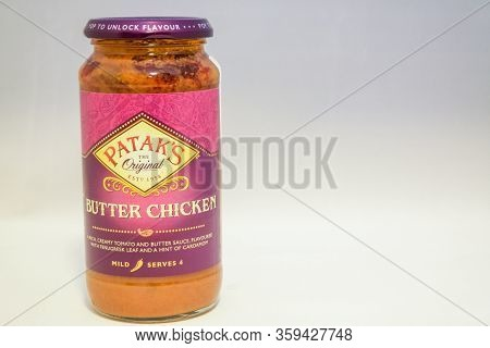 Torrevieja, Valenciana, Spain - Apr 04 2020 : Jar Of Pataks Butter Chicken Sauce With Copy Space.