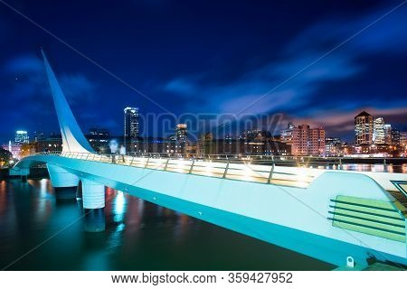 Bridge Named Puente De La Mujer, And City Skyline At Puerto Madero, Capital Federal, Buenos Aires, A