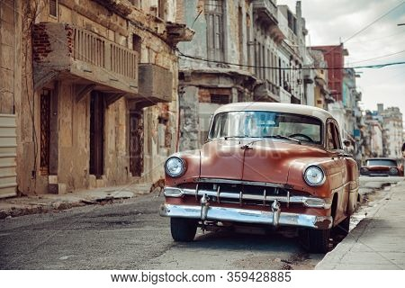 Havana, Cuba - March 22, 2019: Vintage Car Parked On The Street