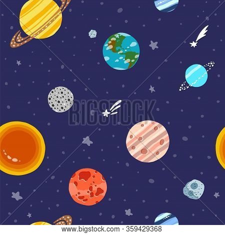 Cosmic Fabric For Kids. Solar System Planets Repeated Tile. Bright Childish Tile. Cute Design For Ki