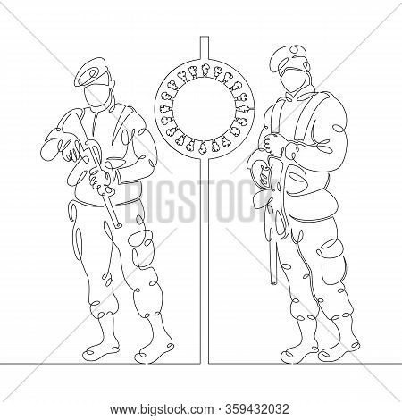 One Continuous Drawing Linesecurity Military Control, Roadblock, Checkpoint. Military In Gas Masks.