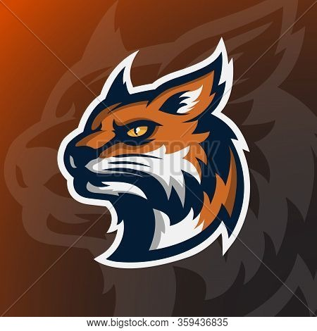 Angry Wildcat Mascot Character. Design Template For A Sport And Esport Team