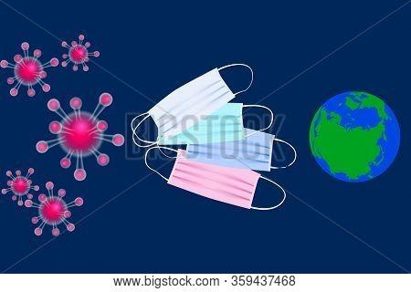 Coronavirus Or Corona Virus Concept. Pathogen Respiratory Coronavirus 2019-ncov, Earth And Medical F