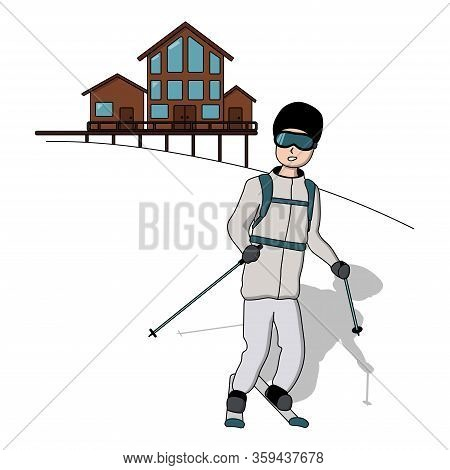 A Skier Skiing In The Mountain. Ski Resort. White Background Isolated Stock Vector Illustration