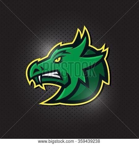 Dragon Head Sport E-sports Gaming Mascot Logo Vector Template. Angry Dragon.