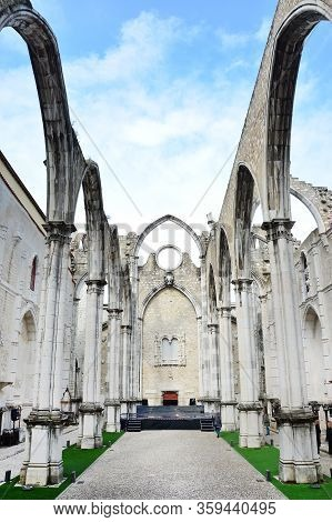 Carmo Church Ruins In Lisbon. Portugal, Beautiful Architecture