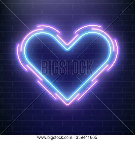 Love Neon, Valentines Day Heart. Concept Of Heart Neon Sign. Pop Art Love Cover.