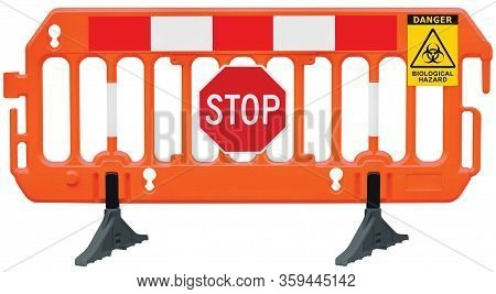 Containment cordon lockdown barricade, obstacle detour road barrier fence, yellow biological hazard danger warning and red white stop road sign, isolated closeup, traffic biohaz safety railing signal signage, COVID-19 concept, large detailed access biohaz