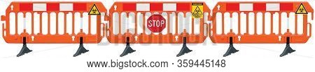 Containment cordon lockdown barricade panorama, obstacle detour road barrier fence, yellow biological hazard danger warning and red white stop road sign, panoramic isolated closeup, traffic biohaz safety railing signal signage, COVID-19 concept, large det