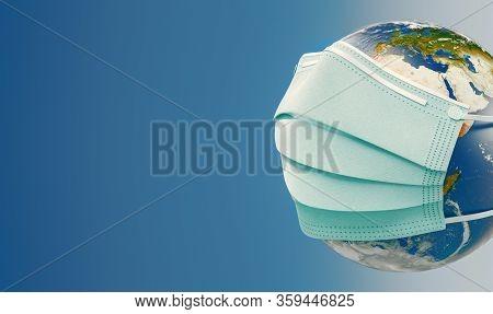 Coronavirus 3d Rendering Illustration Concept. Floating Influenza Virus Cells. Earth With Mask