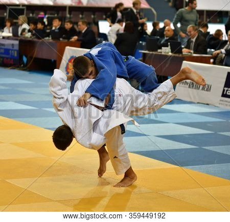 Orenburg, Russia - 21 October 2017: Boys Compete In Judo