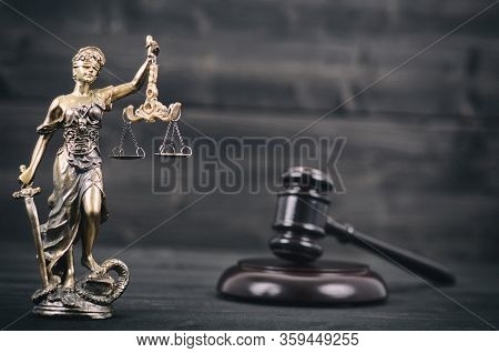 Law And Justice, Legality Concept, Scales Of Justice, Judge Gavel, Justitia, Lady Justice On A Black