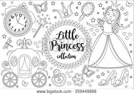 Cute Little Princess Cinderella Set Coloring Book Page For Kids. Collection Of Design Element Sketch