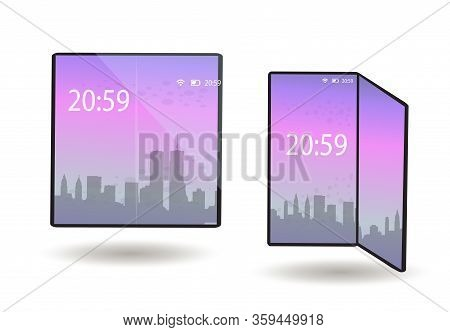 Foldable Phone, Smartphone With A Flexible Screen In The Folded And Unfolded Position. A Tablet Devi