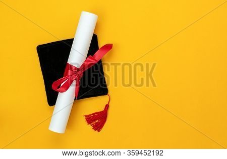 Table Top View Aerial Image Of Graduation Of Education Season Background Concept.flat Lay Accessorie