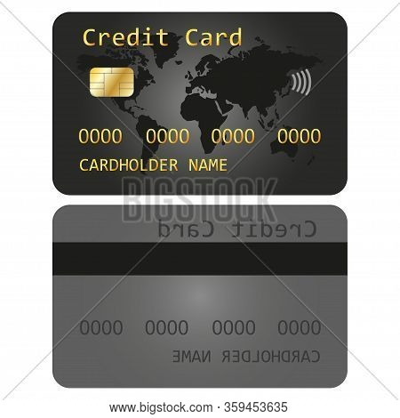 Realistic Detailed Debit Card, Credit Card Design Template. Atm Card Layout With Gold Metallic Gradi