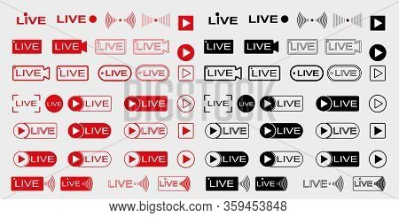 Live Broadcast Icons Set. Live Video Streaming. Red Symbols And Buttons For Live Broadcast, Online B