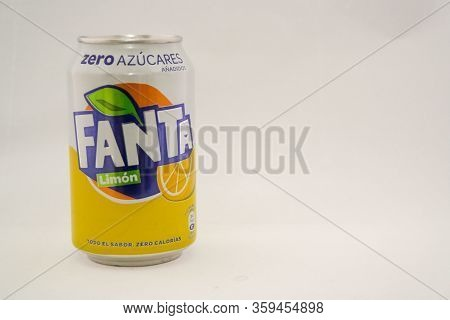 Torrevieja, Valenciana, Spain - Apr 04 2020 : Tin Of Fanta Lemon With Copy Space.