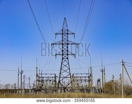 Electrical Substation Supplying Electricity To Countrysides. High Power Voltage Electricity Equipmen