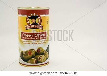 Torrevieja, Valenciana, Spain - Apr 04 2020 : Tin Of Stuffed Olives With Copy Space.