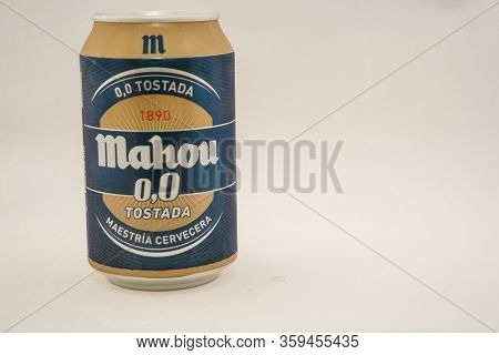 Torrevieja, Valenciana, Spain - Apr 04 2020 : Tin Of Non Alcoholic Beer With Copy Space.